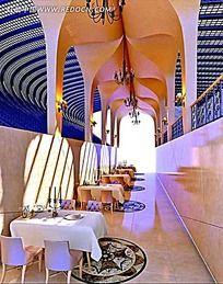 地中海咖啡厅餐厅室内效果图