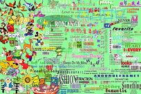 卡通儿童相册艺术字及装饰素材