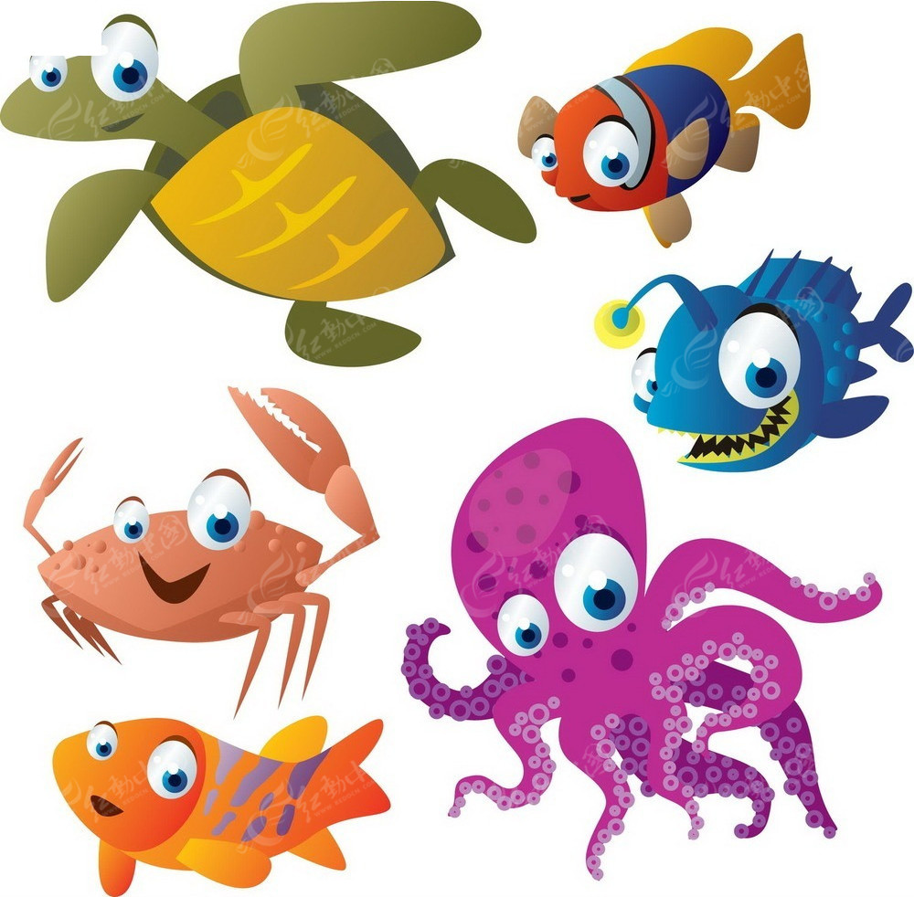 可爱卡通海底小动物素材