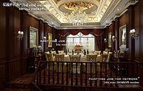 欧式实木餐厅包间效果图图片