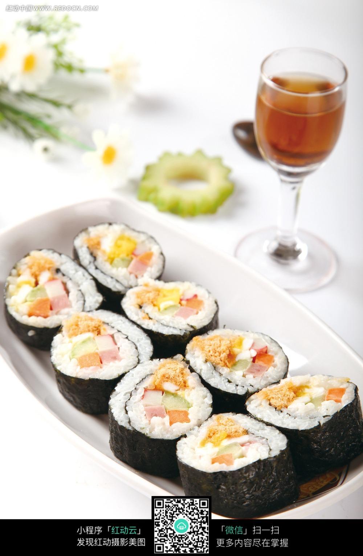 黑白手绘简笔寿司