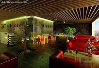 休闲绿色低碳餐厅卡座区效果图