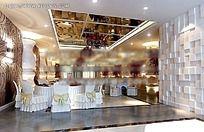 优雅中式餐厅大厅效果图