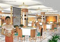 中式餐厅3D模型素材资料