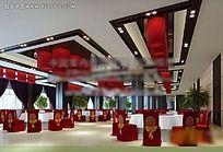 中式餐厅大厅装修模型素材资料