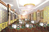 中式休闲室餐厅模型素材