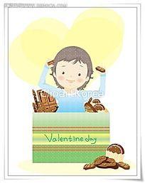 情人节小男生巧克力卡通插画