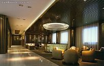 现代风格咖啡厅卡座区效果图