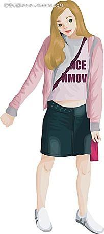卡通人物插画-花朵英文和站立的女孩