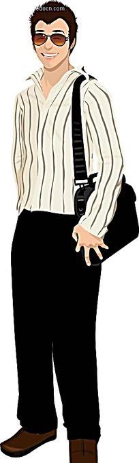 刷彩虹的西装男人物插画矢量图_卡通形象