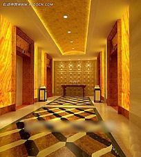 电梯厅效果图MAX格式效果图片