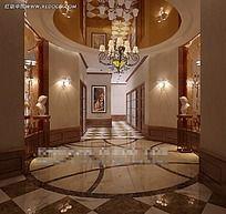 酒店造型过道效果图