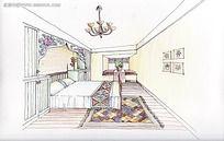 卧室手稿线描效果图