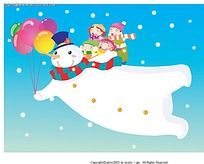 一家四口和雪人人物插画