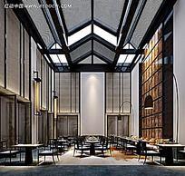 中式简约餐厅装修造型效果图片