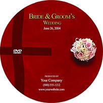 暗红色简约玫瑰花婚礼DVD光盘设计模板