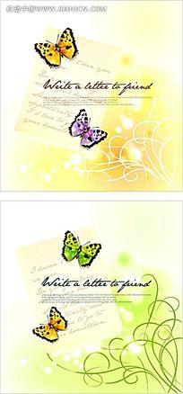 蝴蝶和藤蔓矢量背景
