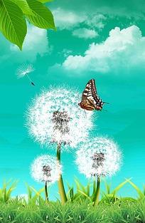 蝴蝶蒲公英绿色春季背景