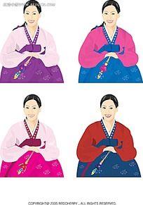 下雪天行走的小人韩国矢量人物漫画图片
