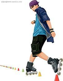 滑直排轮的男生人物插画