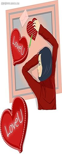 送鲜花的情侣卡通人物插画