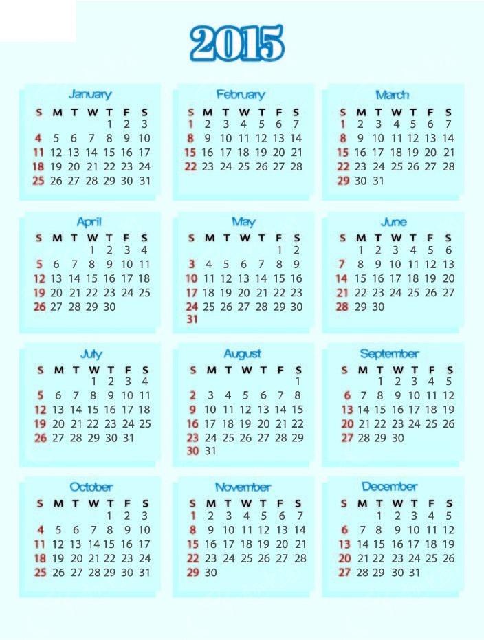 2015年蓝色日历表eps图片