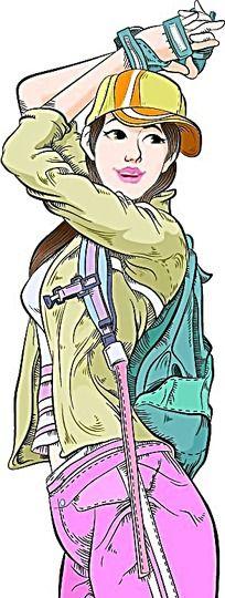 背包男孩卡通手绘
