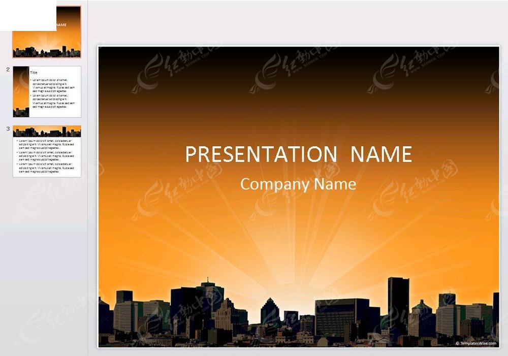橙色背景城市建筑ppt素材免费下载_红动网图片