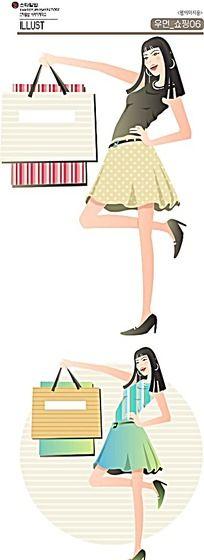 购物袋和少女卡通手绘
