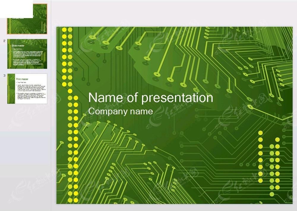年终汇报ppt模板 绿色电路板背景