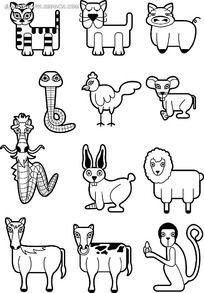 十二生肖清新动物韩国矢量人物插画图片