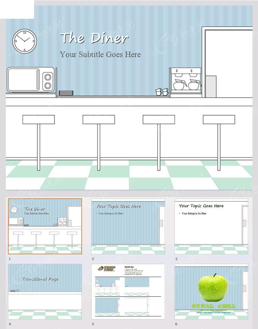 手绘餐厅图片背景ppt_企业商务
