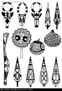 黑白器具花纹素材
