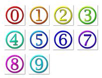 0-9带圈彩色数字素材