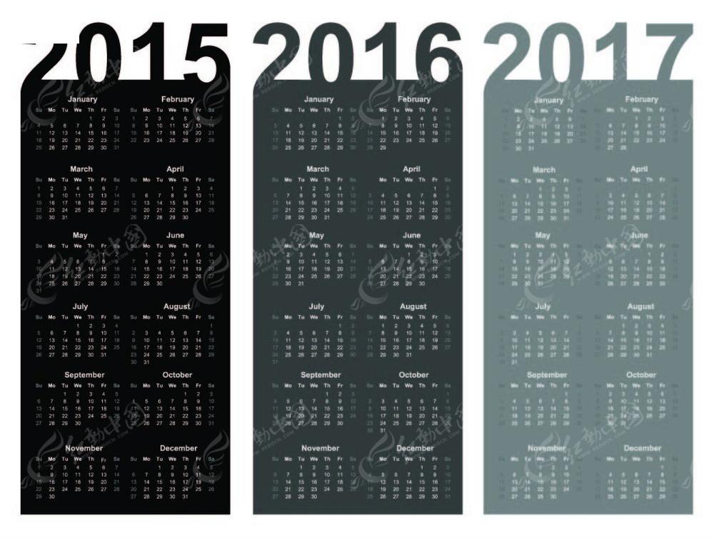 2015-2017年历模板图片