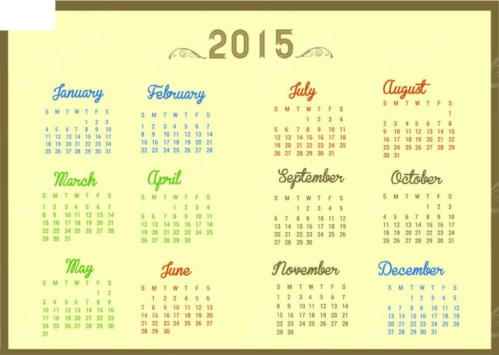 2015年历英文模板矢量图eps免费下载图片