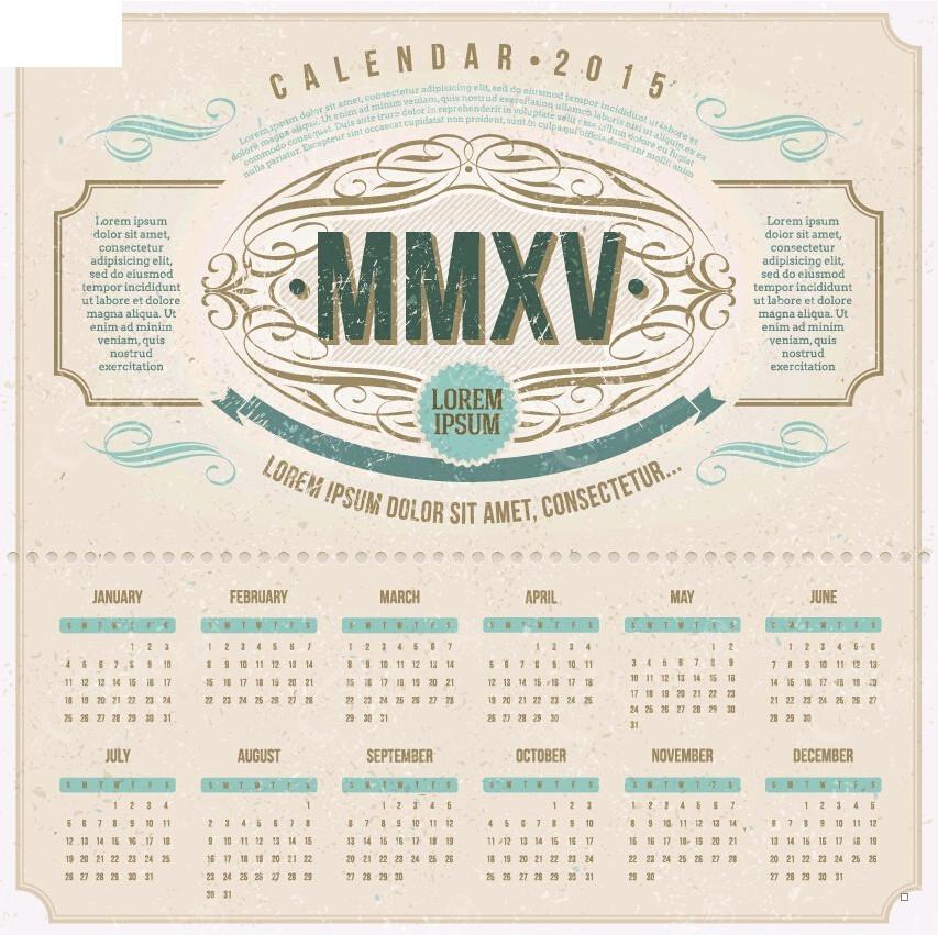 2015欧式手绘日历设计