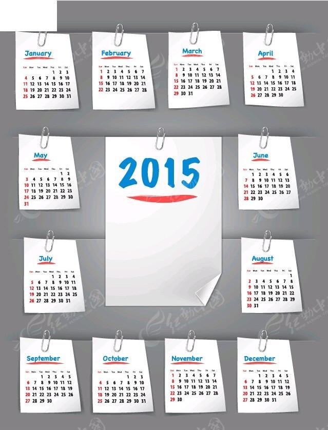 2015时尚日历模板矢量图eps免费下载图片