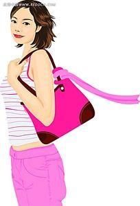 背包短发女性人物插图