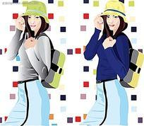 背包旅行少女插图