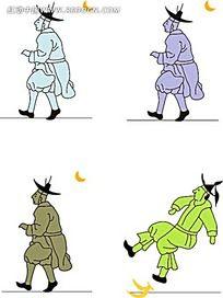 才到香蕉皮滑到的古代小人韩国矢量人物漫画