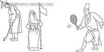 打高尔夫球的古代小人韩国矢量人物漫画