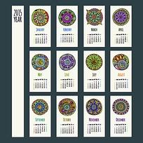 仿古圆形花纹日历模板