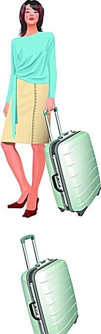 拿着行李箱的女孩子漫画
