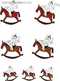 骑木马的古代小人韩国矢量人物漫画