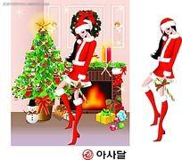 圣诞节长发美女插图
