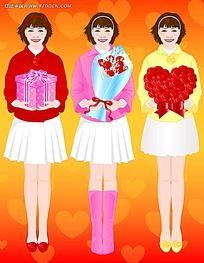收到礼物的鲜花的女孩子韩国矢量漫画