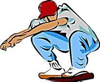 玩滑板的嘻哈男人韩国插画