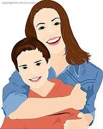微笑拥抱的母子卡通手绘