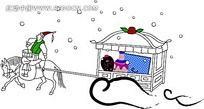 下雪天行走的小人韩国矢量人物漫画